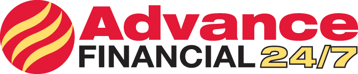 This logo belongs to Advance Financial 24/7